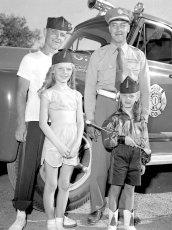 Dave Haraldsen with band members at Canaan Parade 1956