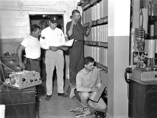 G'town Tel. Co. new switching equipment Al Mastro, Bud Bohnsack, Roger Rifenburgh, Harold Jennings 1960