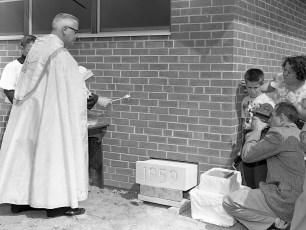 St. Bridget's Church Father Millet blessing the corner stone Copake Falls 1959 (2)