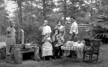 Gibson Family Cook out with baby Bobby Bellerose 1942