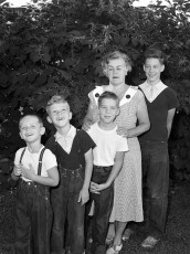 Robert & Donald Gibson with their Grandmother and friends 1956