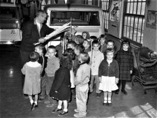 6th St. School Kindergarten class visits E. J. & R. Garage Hudson 1961