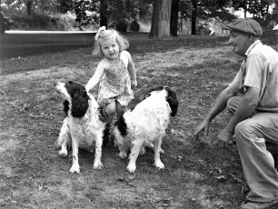 Cecil Funk with Doris Jennings and his dogs 1951