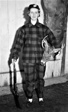 Mildred Dinga with opening day buck Glenco Mills 1956