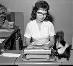 Gloria Lyke with pet skunk Flower G'town 1960