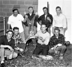 Philip Bruno and friends display 30lb bobcat taken near his farm Elizaville 1961