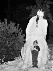 3yr. old Todd Fox with snowman G'town 1975