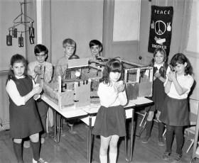 St. Mary's Elementary 3rd Graders Raising Chicks Hudson 1971