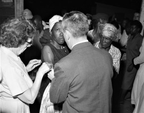 Migrant workers getting Polio shots by Dr. Bardwell Clermont 1960 (2)