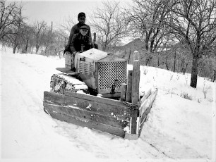 Lasher, Lewis plowing snow at farm in G'town 1947