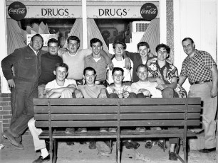 Gtown boys in front of drug store - Ray Lawlor far rt 1954