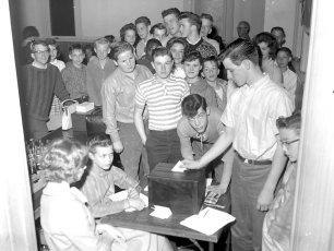 62 Club voting at Am. Legion Hall G'town 1962