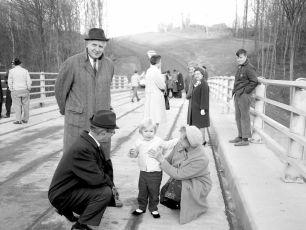 New Dales Bridge Dedication Jay Moore  with young Alberta Lewis held by Minnie Dierks