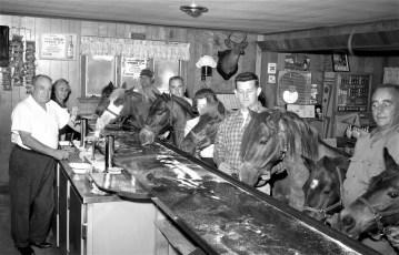 Al & Lena's Ridgewood Inn horses in the bar Bells Pond 1966 (1)