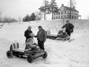 Fred & Gary Mazzacano and Lyle Fingar owners of new snow mobiles Greenport 1969 (2)