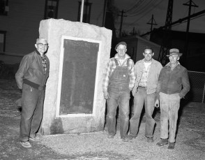 Philmont Mayor Franklyn Maxwell and Group at WW 1 Monument Philmont 1955