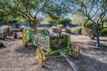 A handful of antique farm equipment is always on display at the Ass Kickin' Specialty store.
