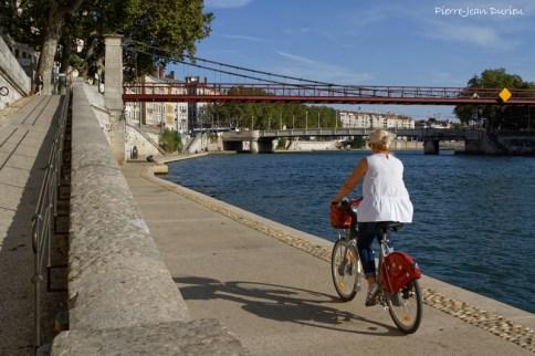 Velo'v sur les quais de Saône à Lyon, Septembre 2016