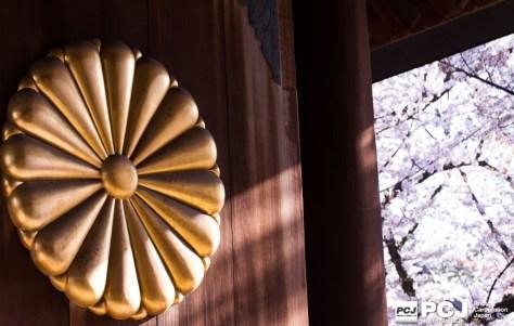 神門の菊の紋と桜