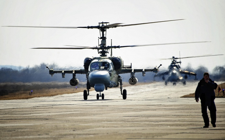 Ka-52 Alligator military helicopter is designed to destroy tanks, armoured and non-armoured ground targets, enemy troops and other helicopters
