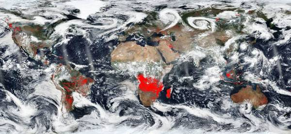 NASA IMAGE - Fires on Earth in red - August 23, 2018