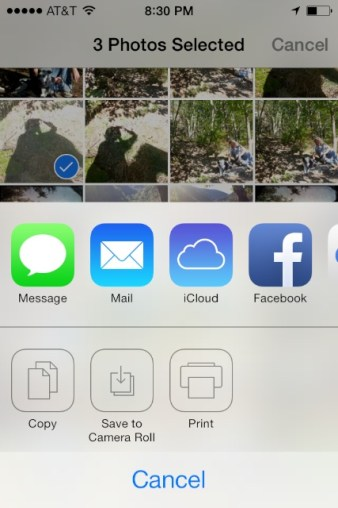 """iOS7 Options when you tap the """"share"""" icon"""