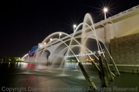 The water cannons at night at Coolidge Landing in downtown Chattanooga, TN