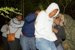 Group jumps at halloween haunt