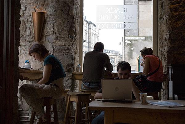 Laptop cafe group