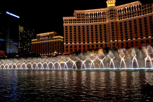 The Bellagio Fountains in action on the Las Vegas strip.