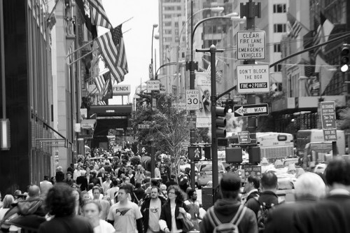 A crowded street can bring on photography fears.