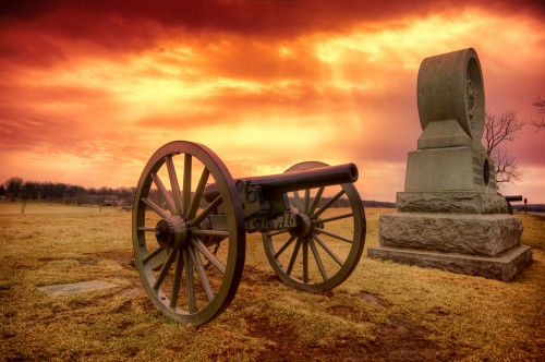 A lone cannon sits on the quiet battlefields of Gettysburg, Pennsylvania.