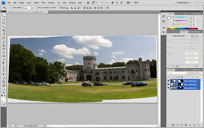 Stiching photos together using Photoshop's Photomerge feature.
