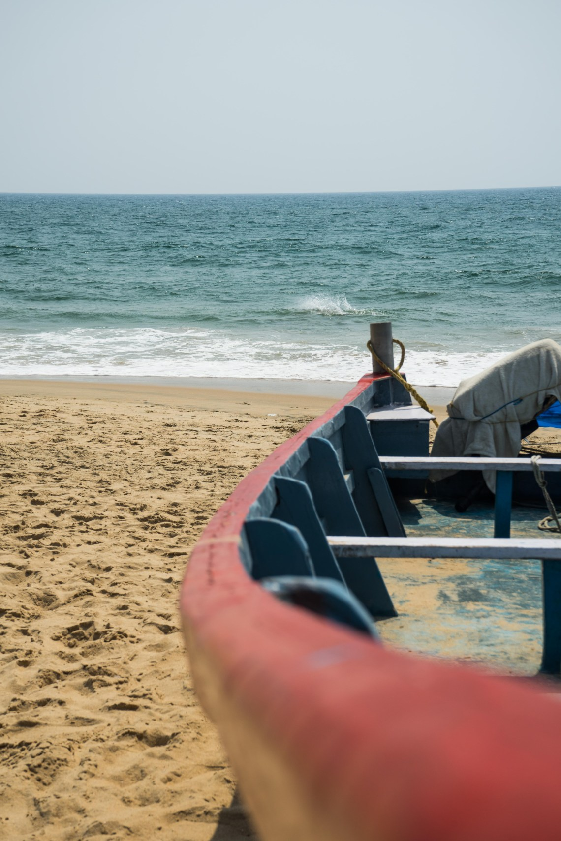 A boat lying at the beach in Varkala