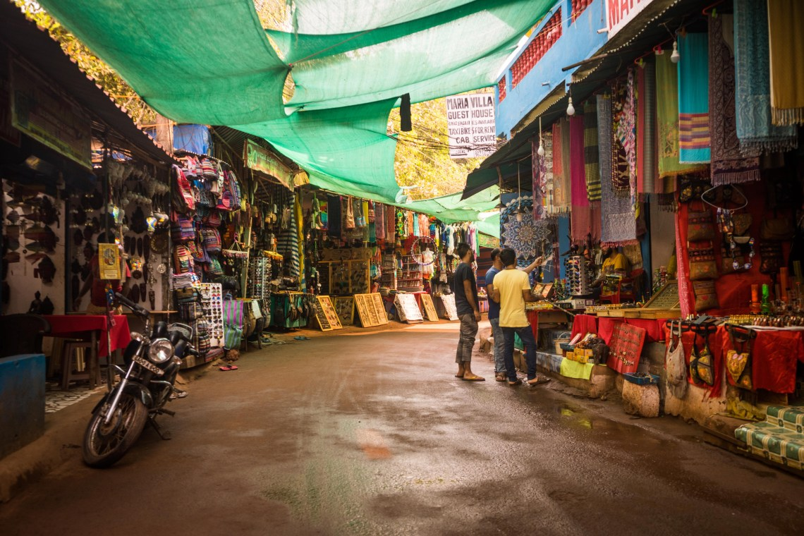 Some of the many street markets in Arambol during the early morning hours