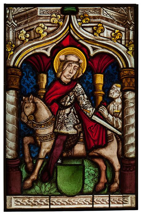 La charité de Saint Martin, vitrail, verre peint, 16e siècle