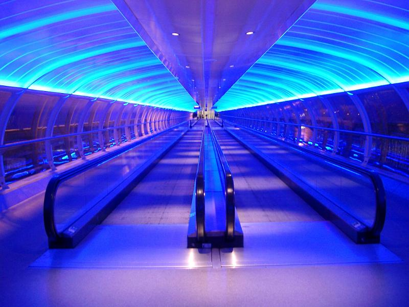 Free Stock Photo Of Blue Interior Of An Airport Walkway