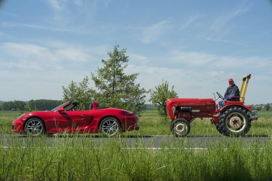 Porsche Boxster and Porsche Tractor
