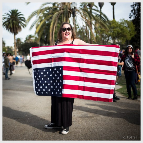 The upside down American flag, Anti Trump Rally at MacArthur Park ,Los Angeles, CA, November 2016, ©2016 Reginald Foster, All Rights Reserved