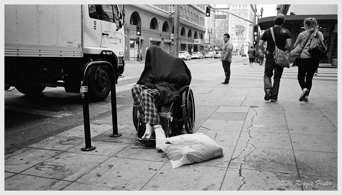 Homeless under a blanket, DTLA, Los Angeles, CA, July 2016, ©Reginald Foster