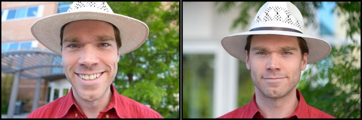 28-300mm lens. The image on the left is shot at 28mm. The one on the right is zoomed in to 300mm, then Mandy stepped back to frame my head the same way.