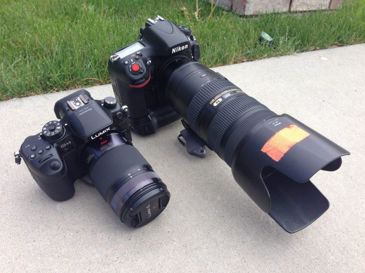 On the right is my D800 with a 70-200mm f/2.8 lens attached. It's huge and heavy! The GH4 with 35-100mm f/2.8 is on the left. These two lenses should make similar pictures (though I haven't compared them side by side, yet).