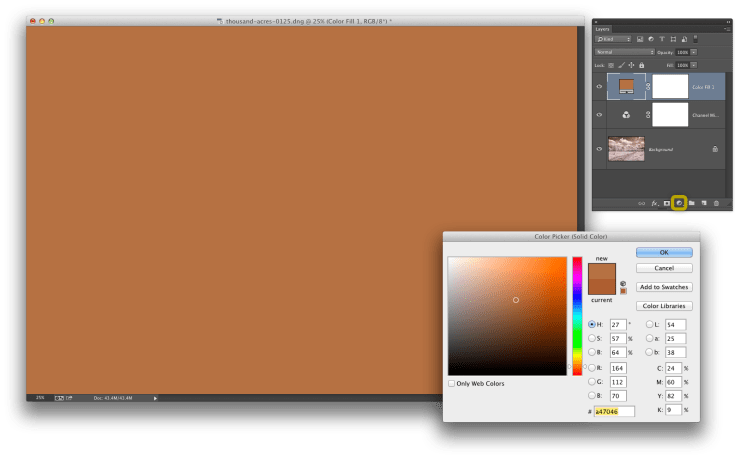 6. My color is fixed in the image, but I want to add a small amount of stylization to my dog. So I add a new Color Fill layer using the icon in the Layers panel, select a brownish-orange color (similar to my dog), and click OK.