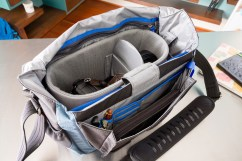 Inside the bag. I have a Fuji X-T1 and two lenses (one attached), along with an iPad, wallet, and accessories.
