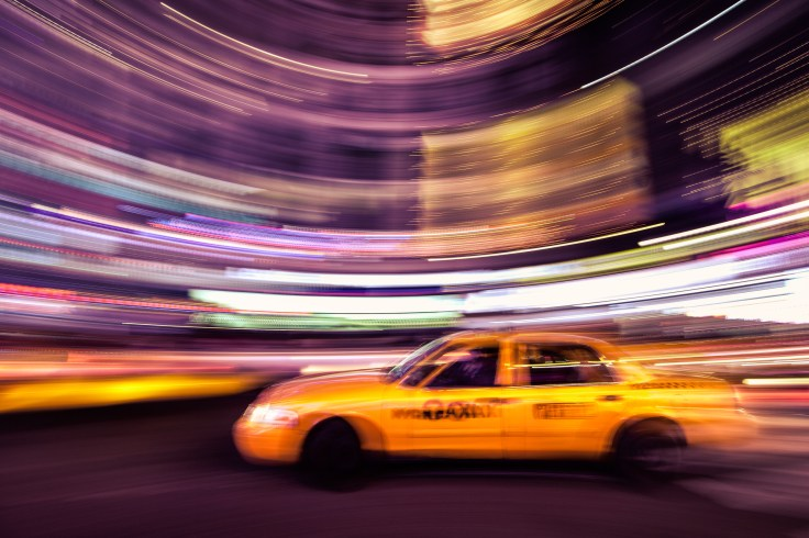 One of my very first panning attempts of a taxi in Times Square, NYC