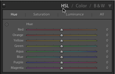Figure 2: The HSL section of the panel set to Hue.