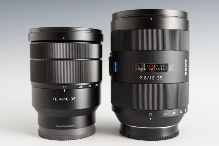 The new Sony FE 16-35mm F4 (left) sitting next to the Sony A-Mount 16-35mm F2.8 (right)