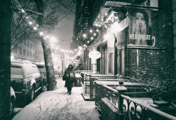 new york city - snow at night - east village lights