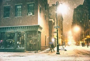 new york city - snow on a winter night - west 8th street -