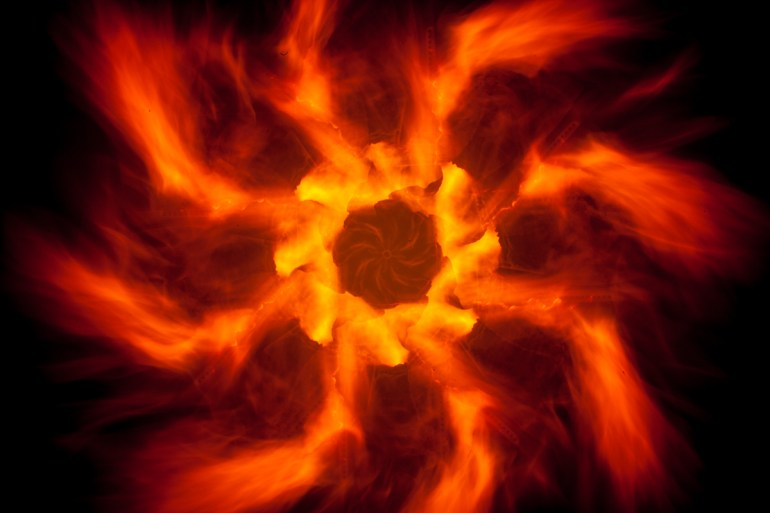 """This """"fire circle"""" was made with the camera rotation device stopping every 45º."""